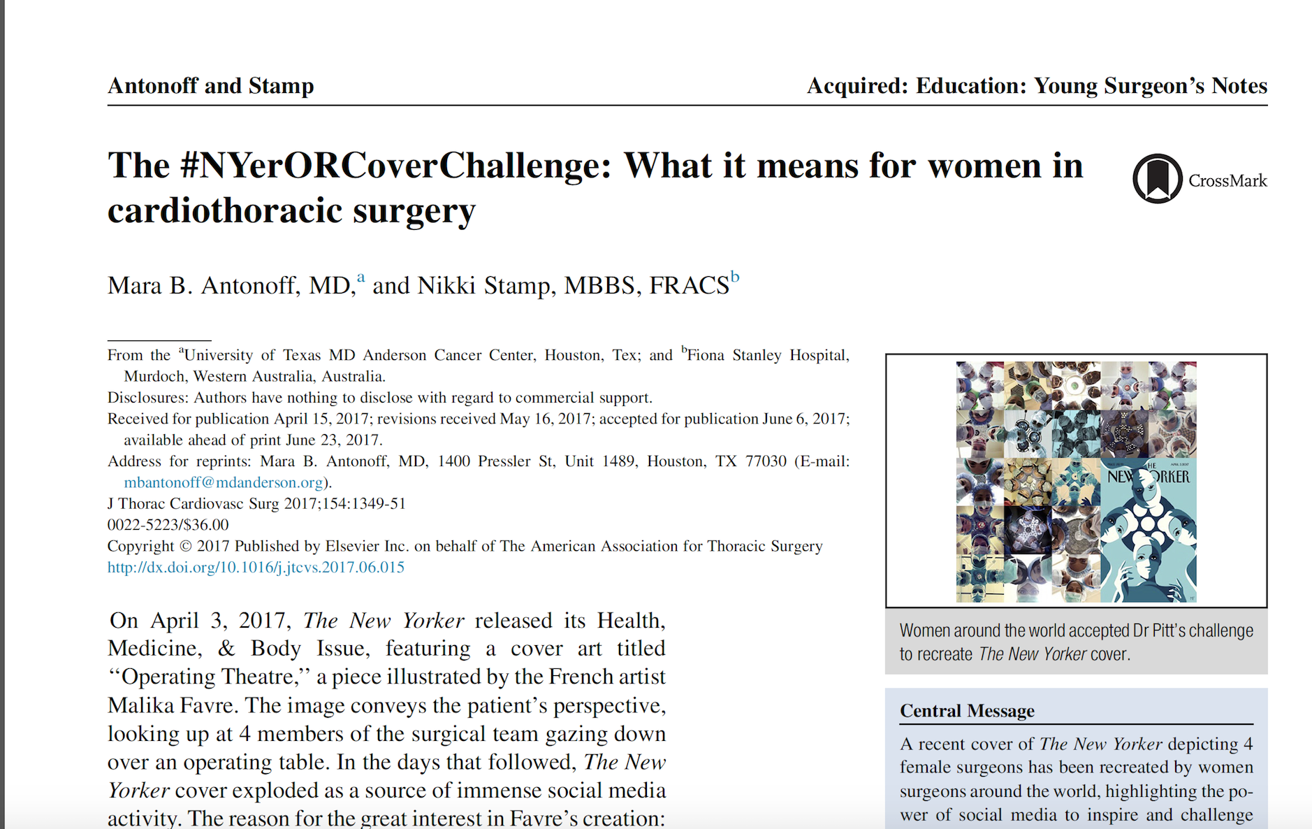 Women in Cardiothoracic Surgery